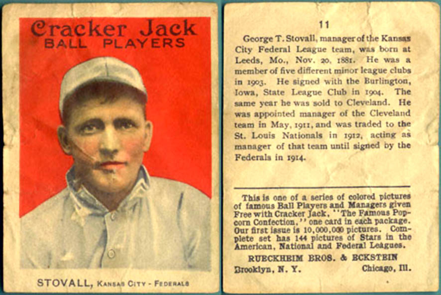 1914 Cracker Jack Baseball Card George T. Stovall of the Kansas City Federals