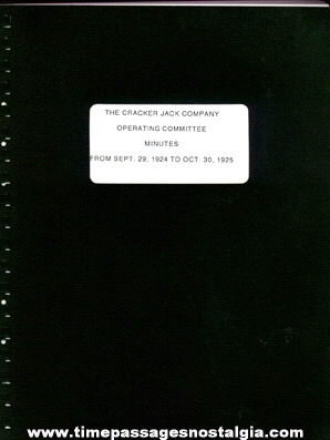 1924 - 1925 Cracker Jack Company Operating Committee Book
