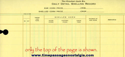 Old Unused Cracker Jack Company Daily Detail Shelling Record Ledger Page