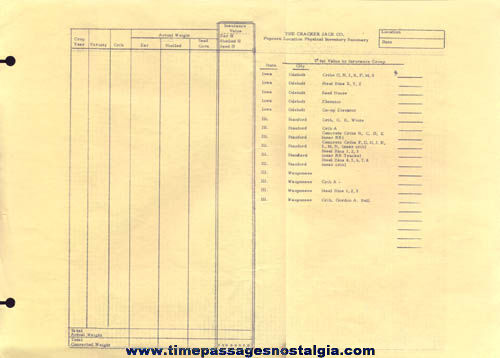 Old Unused Cracker Jack Company Popcorn Location Physical Inventory Summary Page