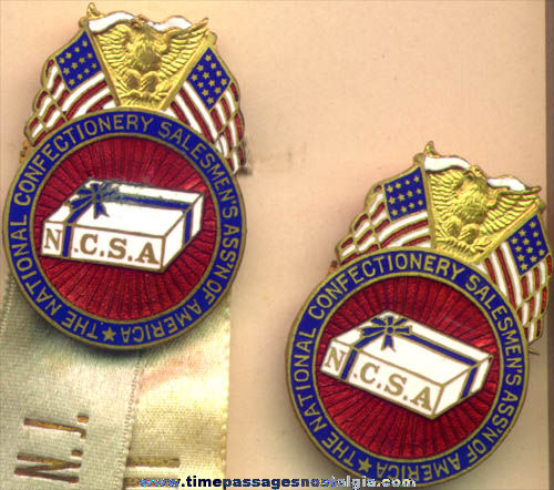 (2) Boxed 1913 Confectionery Salesman Enameled Badges