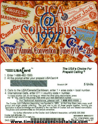 Unused 1997 Cracker Jack Collectors Association Convention Phone Card