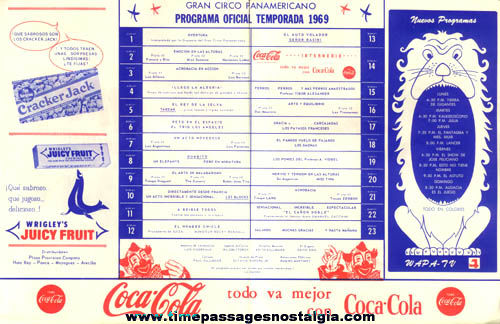 1969 Puerto Rico Spanish Circus Program With Advertising