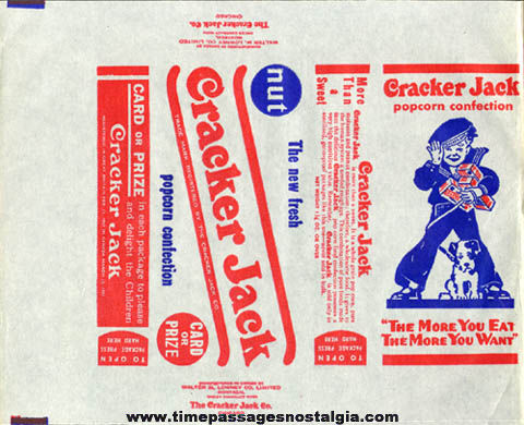1940s - 1950s Unused Cracker Jack Box Wrapper / Label