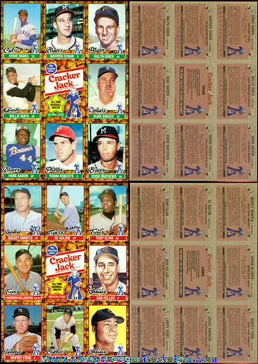 Set of (2) Uncut 1982 Cracker Jack Premium Baseball Card Sheets
