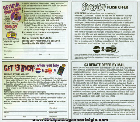 Cracker Jack / Frito-Lay Scooby Doo Doll Premium Order Form