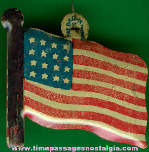 Old Unused American Flag Cracker Jack Pop Corn Confection Lithographed Tin Toy Prize Patriotic Pin