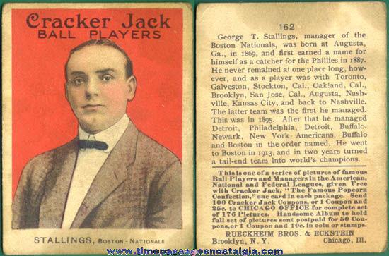 1915 Cracker Jack Baseball Card George T. Stallings of the Boston Nationals