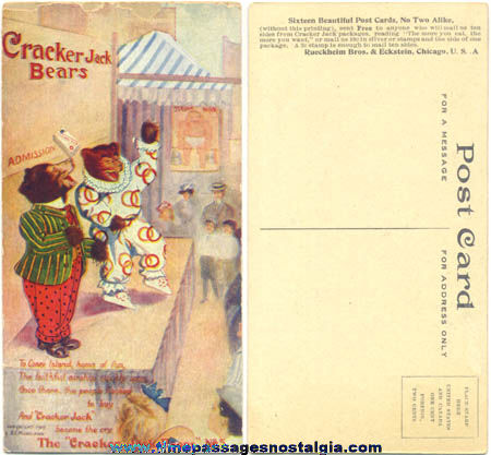 1907 Cracker Jack Bears Advertising Premium / Prize Post Card #5