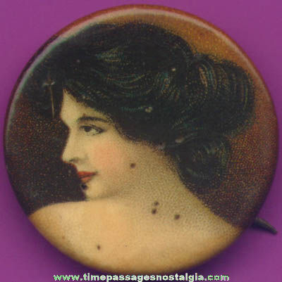Early 1900s Cracker Jack Pop Corn Confection Pretty Lady Celluloid Toy Prize Pin Back Button