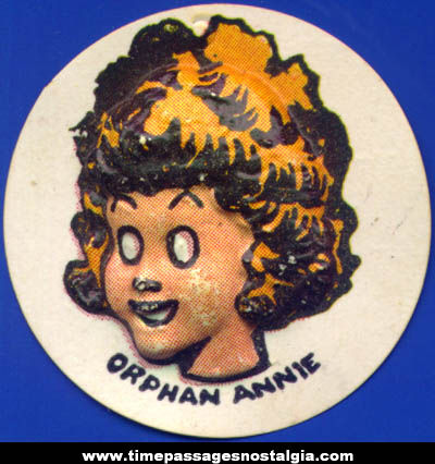 Colorful Old Cracker Jack Pop Corn Confection Orphan Annie Comic Character Vacuform Toy Charm Prize
