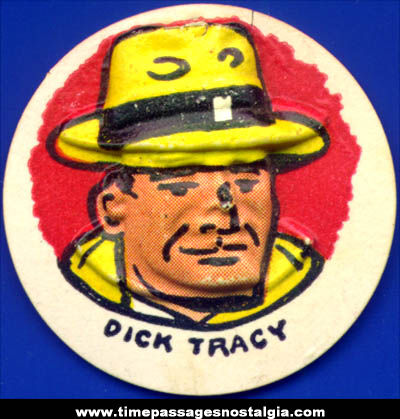 Colorful Old Cracker Jack Pop Corn Confection Dick Tracy Comic Character Vacuform Toy Charm Prize