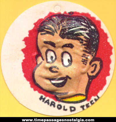 Colorful Old Cracker Jack Pop Corn Confection Harold Teen Comic Character Vacuform Toy Charm Prize