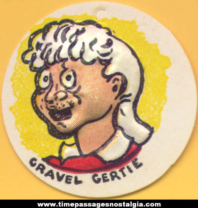 Colorful Old Cracker Jack Pop Corn Confection Gravel Gertie Comic Character Vacuform Toy Charm Prize