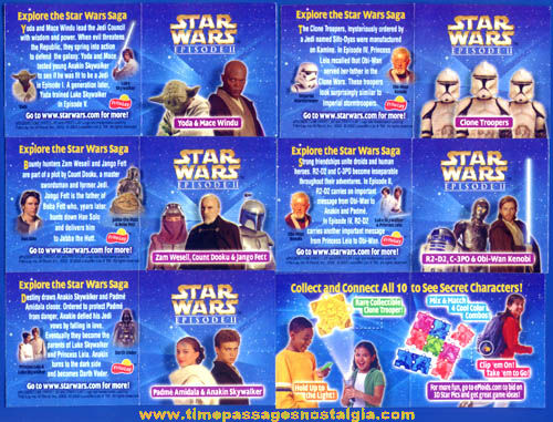 ©2002 Cracker Jack Frito-Lay Star Wars Character 3-D Puzzle Prizes