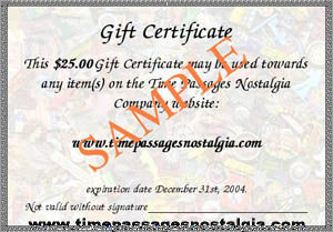 Time Passages Nostalgia Company Gift Certificate