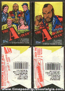 (4) ©1983 Unopened A Team Bubble Gum Card Packs
