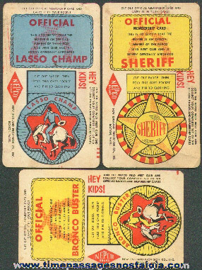 (3) Old Unusual Premium Western Badge Trading Cards