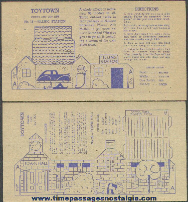 (2) Different Old Nabisco Toytown Building Cereal Premium Trading Cards