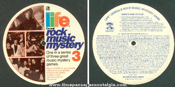 1986 Life Cereal Premium Rock Music Mystery Contest Record