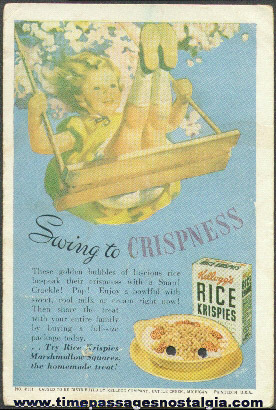 Old Kelloggs Rice Krispies Advertising Ink Pen Blotter