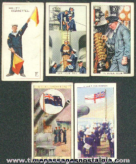(5) Old NAVY Related Tobacco / Cigarette Premium Trading Cards