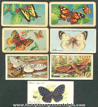 (7) Old Butterfly Tobacco / Cigarette and Tea Premium Trading Cards
