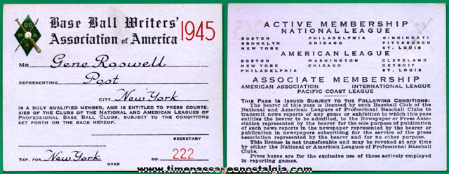 1945 Baseball Writers Association Of America Press Pass Card