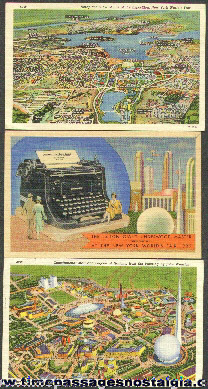 (3) Colorful 1939 New York Worlds Fair Post Cards