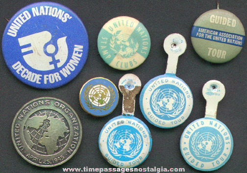 (8) Small Old United Nations Advertising & Souvenir Items