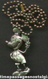 Old Metal Mickey Mouse Figure Necklace