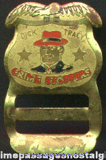 1950s Metal Dick Tracy Crime Stoppers Suspenders Badge Buckle