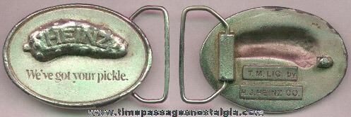 Old Heavy Metal Heinz Pickle Advertising Belt Buckle