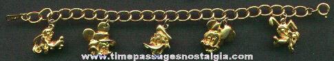 Walt Disney Character Charm Bracelet With Metal Charms