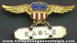 Scarce 1930's JUNIOR BIRDMEN OF AMERICA Enameled Brass Wings Badge With Rank Bar