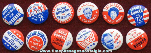 Rare & Complete Set Of (12) Archie Bunker Political Pin Back Buttons