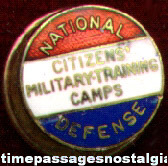 WWII National Defense Citizens' Military Training Camp Screw Back Button