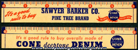 Old Sawyer Barker Company Advertising Premium Ruler
