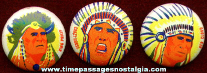 (3) Premium Native American Indian Pin Back Buttons