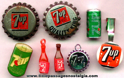 (8) Small Old 7-UP Soda Advertising & Miniature Toy Items