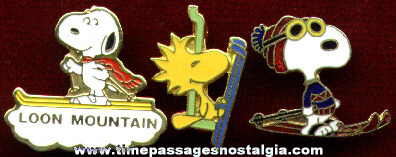 (3) Snoopy and Woodstock Skiing Pins