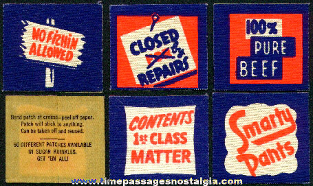 (5) Old Scarce Unused Sugar Krinkles Cereal Premium Cloth Patches