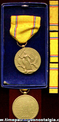 Boxed WWII American Defense Service Medal With Three Ribbons