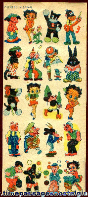 1930's Sheet of Cartoon Character Tattoos