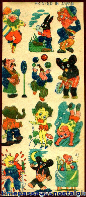 1930s Sheet of Cartoon Character Tattoos