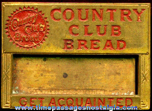 Old Brass Country Club Bread Employee Name Badge