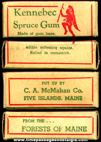 Old Full Advertising Box of Kennebec Spruce Gum