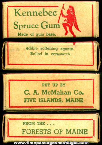 Old Full Advertising Box of Kennebec Spruce Gum