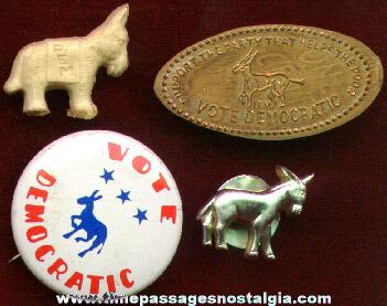 (4) Small Old Democratic Campaign Items