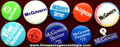 (10) Different McGovern Political Buttons